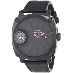 Sector Men's Quartz Watch with Black Dial Analogue Display and Black Leather Strap R3251207003
