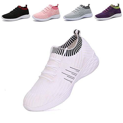 nishiguang Women Fashion Sport Shoes Walking Trainers (Casual Lightweight Breathable) Mesh Running Shoes(white41)