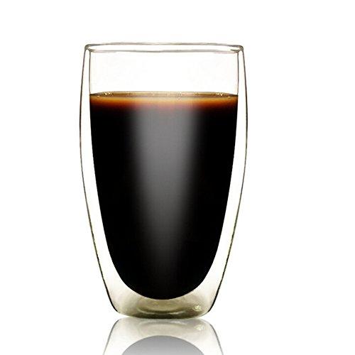 Tasse en verre double épaisseur, tasse en verre borosilicate transparent résistant à la chaleur pour thé, café, café au lait, cappuccino, espresso, bière, Verre, 450ml