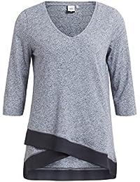 Object Gabby Damen Long-Shirt mit 3/4-Ärmeln | Long-top asymmetrisch mit V-Ausschnitt | Langarm-Shirt in A-Linie