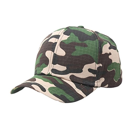 Fuibo Kappe für Herren und Damen, Einstellbare Outdoor Camo Tactical Cap Plain Vintage Armee Military Cadet Style Hat| Basecap, Baseball Cap, Verstellbar (Grün) (Cadet Camo Hut)