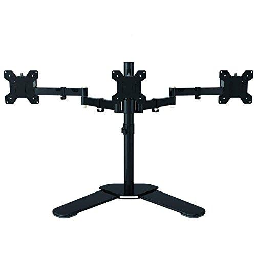 Freistehender Dual Arm Monitor Tischständer Voll Einstellbare Halterung Für Drei Bildschirme Bis Zu 69cm(69cm) 22lbs(10kg) Gewicht Pro Arm Mit ±15° Neigung 360° Drehung Und 180° Herausziehbarem Schwenkarm Max VESA 100x100 Suptek ML6463