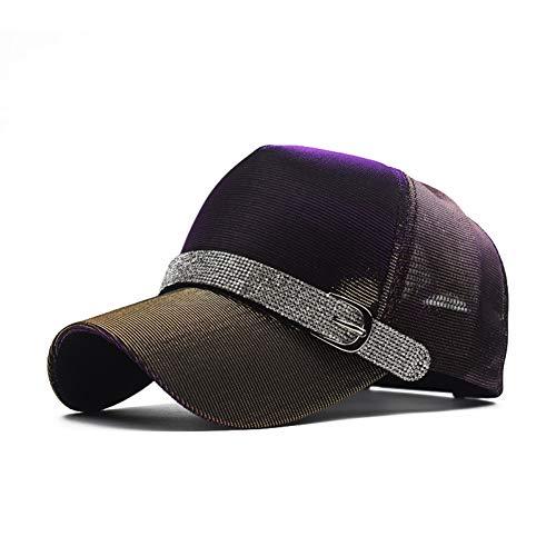 Imagen de yuanbaog moda mujer sombreros de diamantes de imitación diamante sun cap swag casquette snap back  color sólido  de béisbol de verano dad girl bones, ajustable
