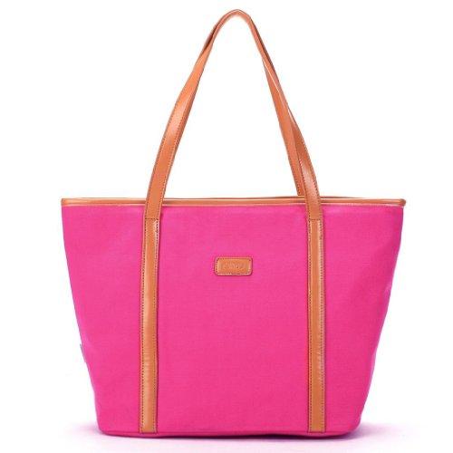 Eshow Borsa tote da donna a mano di tela rosa