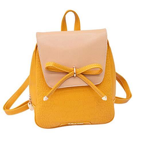 Bagkeena Damen Leder-Rucksack, Süßigkeitenfarben, Schulranzen, Damen, Orange (Rosa Reebok Rucksack)