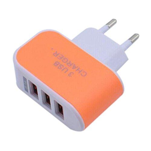 HOOUDO 3.1A Triple USB Port Wand Home Reise AC Ladegerät Adapter für S6 EU Stecker (Orange)