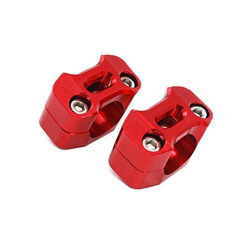 Rouge Paire de Moto 1 1//8CNC Guidon Guidon Riser Mount Adaptateur de Serrage 7//8 /échange 1 1//8