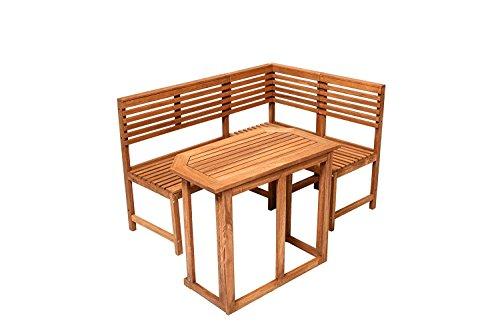Saigon Eckbank mit Tisch Gartenbank Holzbank Sitzbank Bank Gartenmöbel Parkbank Sitzgarnitur 150/100cm FSC 100% Eukalyptusholz