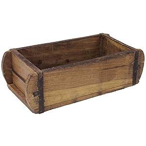 MACOSA TM16460 Ziegelform Deko-Holzkiste massiv 32 x 15 cm Unikat Vintage Ziegel-Kiste Küchen-Organizer Badorganizer Tischdeko Wohnaccessoire