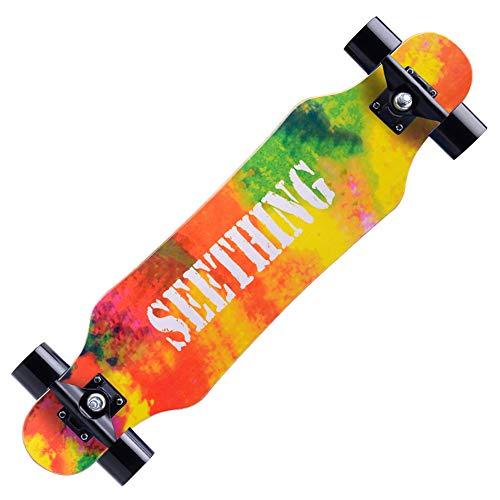 Wham Moon Longboard Special Edition , Skateboard (Länge: 80 cm Breite: 20 cm 7,9 Zoll) Drop-Through-Freeride-Skating-Cruiser-Boards - Dropdown-Design - ABEC 8-Lager