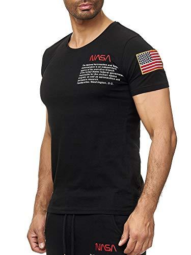 Red Bridge Herren T-Shirt NASA Logo USA Spaceshuttle Baumwolle Rundhals M1295 Schwarz XL -