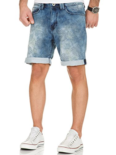 Sublevel Herren Jogg Jeans Shorts kurze Hose Bermuda Denim Sweatpants Joggjeans Vintage Used Look Dark Blue - H-1313/2KS60