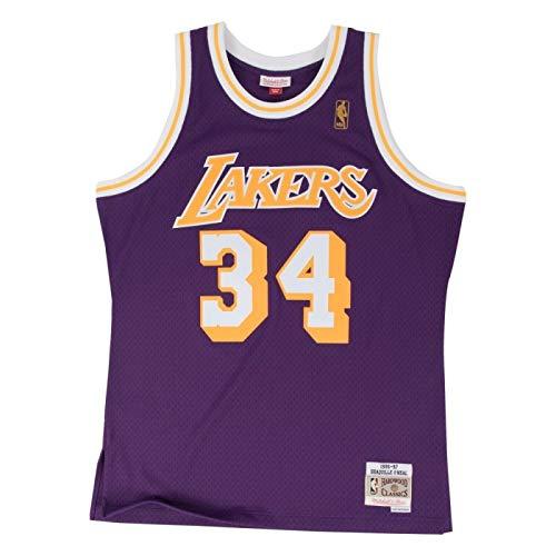 Mitchell & Ness Shaq O 'Neal # 34los Angeles Lakers 1996–97Swingman NBA Camiseta Lila, Large