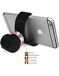 Color Dreams® Soporte móvil coche bicicleta sobremesa todo en uno. Nuestro soporte móvil universal lo puedes utilizar en tu bici, coche, oficina, hogar,etc. Rotación 360º. Universal para todo tipo de smartphones como Iphone SE 6S 6S plus 6 6 plus 5 5S 5C 4 4S , Samsung Galaxy S7 / S6 / S5 / S4 / Note 4/3 , Sony, BQ, Motorola, Google Nexus, LG G3 y muchos otros teléfonos o dispositivos GPS (Negro)