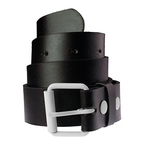 Ceinture en cuir bicolore pour Femme et Homme Masterdis Fasion Prong Belt noir/blanc - Taille:S
