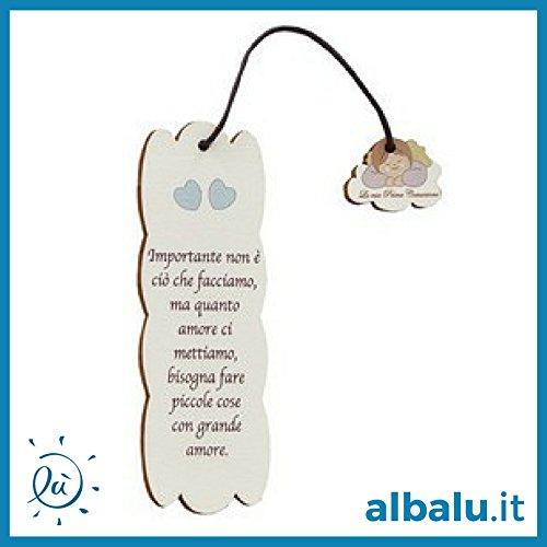 Bomboniere Comunione Maschio | 6 pezzi Segnalibro Legno Bambino Angioletto Comunione 5x15 cm con Frasi