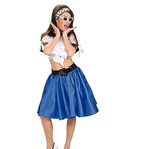 Jupe Swing Avec Jupon Années 50 Jupe Bleue Rock'N Roll Jupe Pour Femme Rockabilly Jupe Satinée Avec Jupon Jupe Fifties Déguisement Accessoire