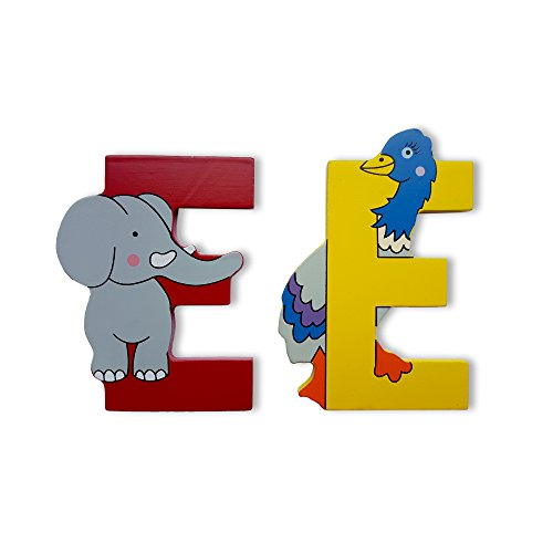 VINSANI WOODEN JUNGLE ANIMAL ALPHABET LETTERS PERSONALISED BEDROOM WALL DOOR NAME (E)