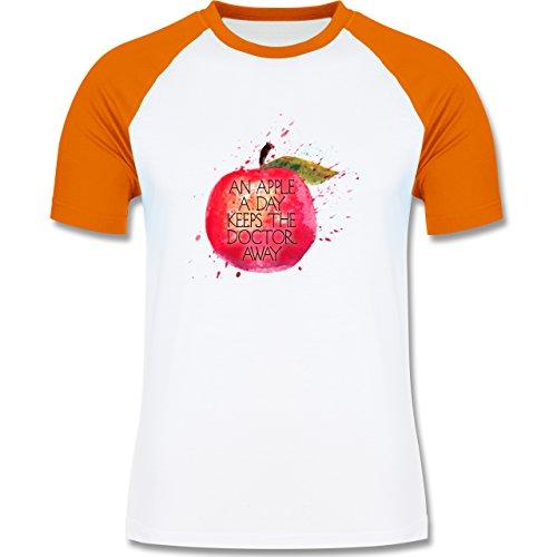 Statement Shirts - An apple a day keeps the doctor away - zweifarbiges Baseballshirt für Männer Weiß/Orange