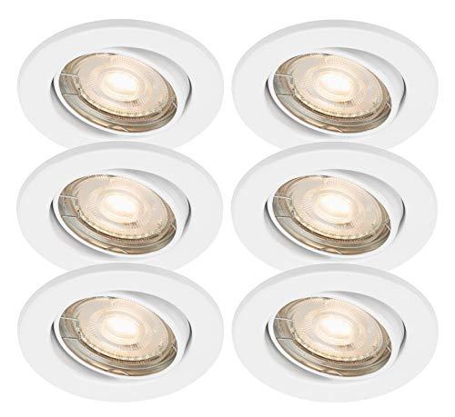 Trango 6 conjunto Downlight LED empotrado en blanco Redondo TG6729-066GUCOB con 6x...