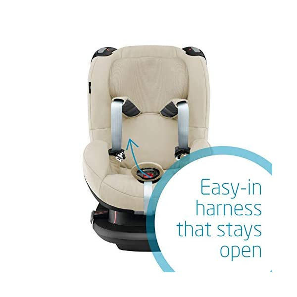 Maxi-Cosi Tobi Toddler Car Seat Group 1, Forward-Facing Reclining Car Seat, 9 Months-4 Years, 9-18 kg, Nomad Sand Maxi-Cosi Toddler car seat suitable for children from 9 to 18 kg (approximately 9 months to 4 years) Install theMaxi-Cosi Tobi car seatusing the car's seat belt and the integrated belt tensioner ensures a solid fit Spring-loaded, stay open harness to make buckling up your toddler easier as the harness stays out of the way 5