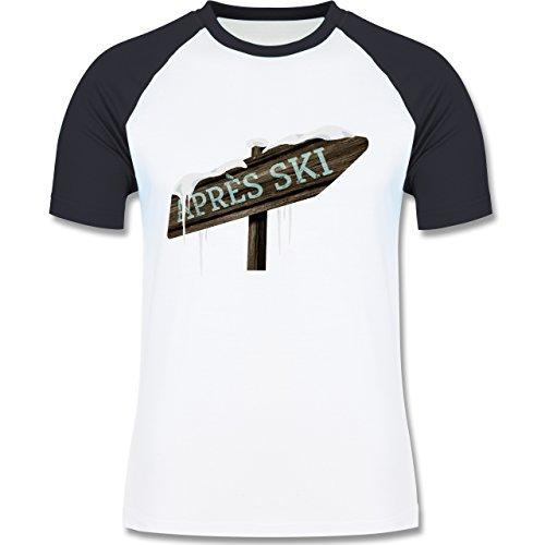 Shirtracer Après Ski - Holzschild Schnee Après Ski - Herren Baseball Shirt Weiß/Navy Blau
