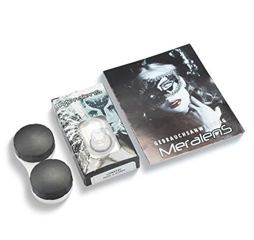 Farbige Kontaktlinsen 1 Paar weisse schwarze Lunatic Vampir mit schwarzem Rand 1 Paar. Topqualität zu Halloween, Fasching, Fastnacht, Karneval Halloween gratis Kontaktlinsenbehälter ohne Stärke - 4