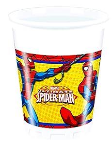 Procos 86670-Vasos Plástico Ultimate Spider Man power, 200ml, 8unidades, rojo/azul/amarillo