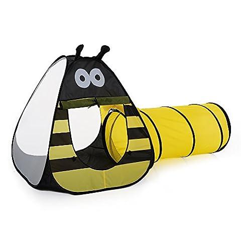 TOMSHOO Pop Up Tente de Enfants Bee Jouer Tente extérieure Jardin Toy pliant Tente + Tunnel de 3.6
