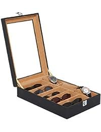 Leather World 5.5 Liter Black PU Leather Designer 3 Watch Box | | Watch Storage Box | Watch Case Organizer Goggle...
