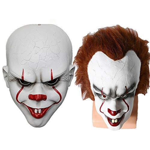 Paare Kostüm Ein Namen Halloween - YUSDP 2 STÜCKE Erwachsene Clown Maske mit Haaren und freiliegenden Zähnen für Halloween Dekoration-Umweltfreundliche Naturlatex und Harz für Ostern, Themenparty