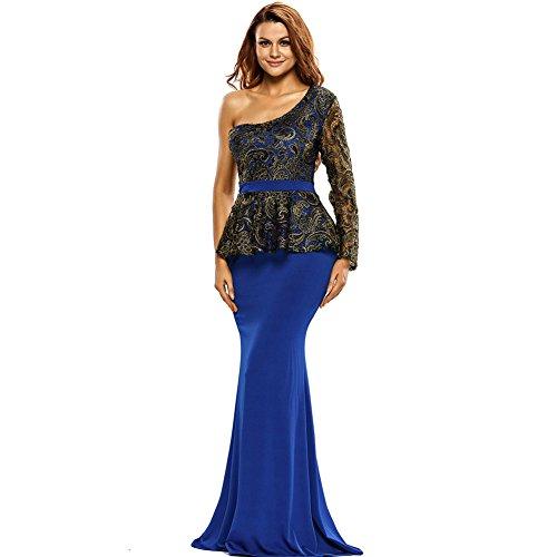 PU&PU Partie/Cocktail Club broderie une épaule Patchwork manches longues Mermaid robe Maxi des femmes blue