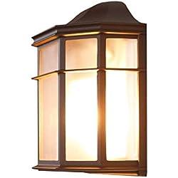 Lámpara de Pared de 25 Cm, E27 luz de Pared Estilo rústico Retro, Aplique de Pared Antiguo al Aire Libre, Forma clásica de iluminación de terraza, luz de Pared marrón, IP23 (Diseño : 1)