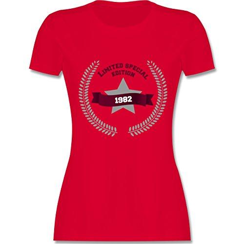 Geburtstag - 1982 Limited Special Edition - tailliertes Premium T-Shirt mit Rundhalsausschnitt für Damen Rot