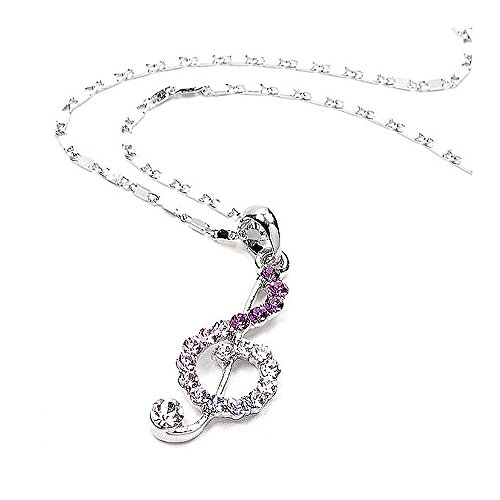 Glamorousky Music Sign Pendant with Purple Austrian Element Crystals and Necklace (1742)