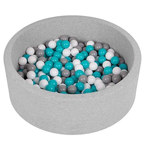Selonis Piscine À Balles 90X30cm/200 Balles Ronde en Mousse pour Bébé Enfant, Gris Clair: Gris-Blanc-Turquoise
