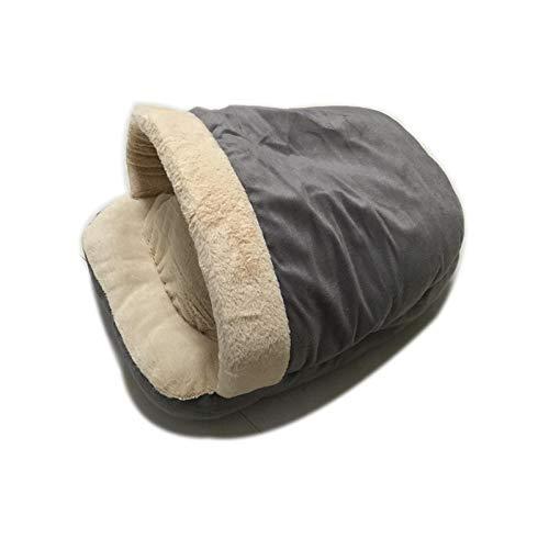 Bellopny Zwinger Matherbst Und Winter Warme Hundehütte Haustier Bett Weiche Nest Hundehütte Katze Schlafsack@Grau_M -