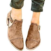 QinMM Botines de tacón Alto Hueco Casual Mujer Mocasines Planos Botas Plataforma Zapatos mocasín cómodo Mujers