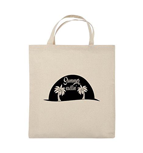 Comedy Bags - Summer callin - PALMEN - Jutebeutel - kurze Henkel - 38x42cm - Farbe: Schwarz / Pink Natural / Schwarz