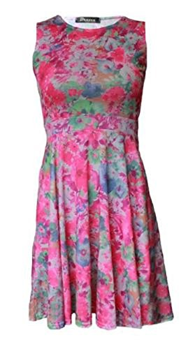 Generic - Robe - Patineuse - Sans Manche - Femme Florescent Pink