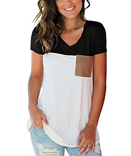 Damen T-Shirts Sommer Basic V-Ausschnitt Farbblock Casual Kurzarm Oberteil Bluse Oberteile Top Hemd T-Shirts mit Tasche (Schwarz, Small)