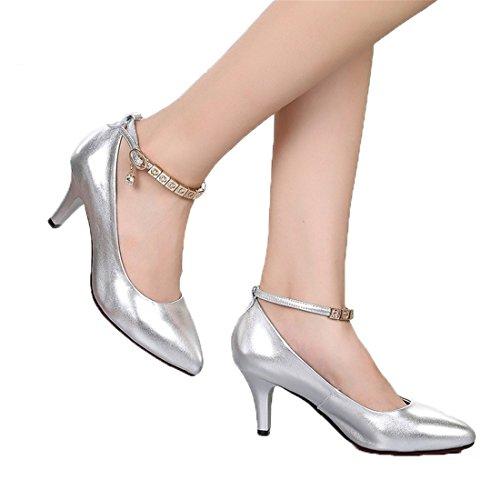 WXMDDN Latino Scarpe da Ballo, Argento Scarpe da Ballo Calzature per Adulti Alla Danza e Danza Moderna Scarpa Danza Argento