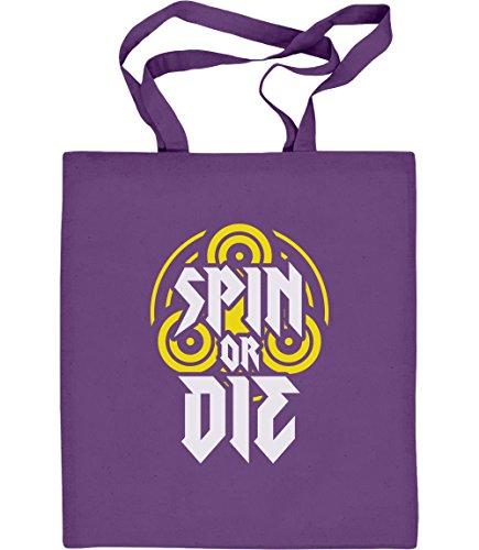 Geschenkidee für Spinner-Fans - Spin or Die Jutebeutel Baumwolltasche One Size Violett