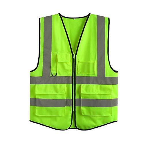 KOBWA Warnweste Reflektierende Warnweste mit 4 Taschen, Reißverschluss, Grün