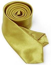 Cravate fine unie look doré main tie schlips rétro tendance
