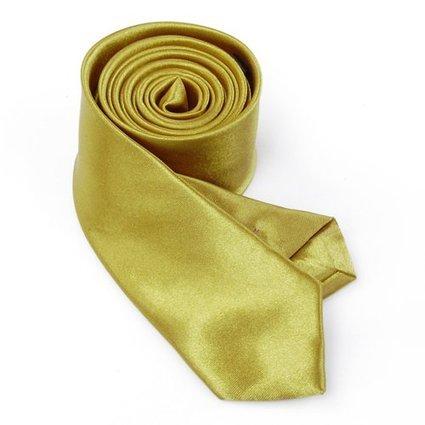 OM3 Goldene schmale Krawatte Herren Smoking Slim Uni Tie Hochzeit Business Schlips dünn Handmade (GOLD)