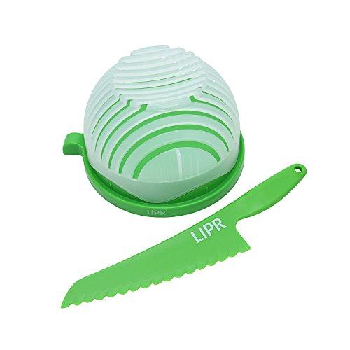 LIPR Large BPA Free Salad Cutter and Bowl with Lettuce Knife (BPA-Freier Großer Salatschneider mit Schüssel und Salatmesser) schneidet Obst und Gemüse in 60 Sekundenschnelle. -