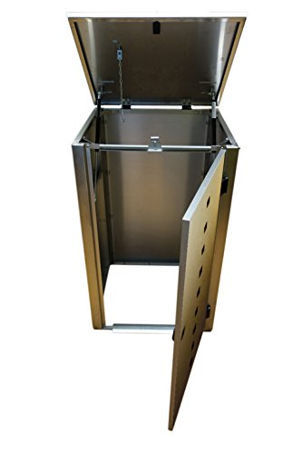 Mülltonnenbox Edelstahl, Modell Eleganza Quad7, 120 Liter, Zweierbox, in Anthrazitgrau RAL 7016 - 2