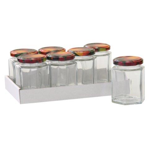 Axentia 292105 Set de 7 Pots de Confiture Vide avec Couvercle à Visser Verre Transparent 5,8 x 5,8 x 12 cm