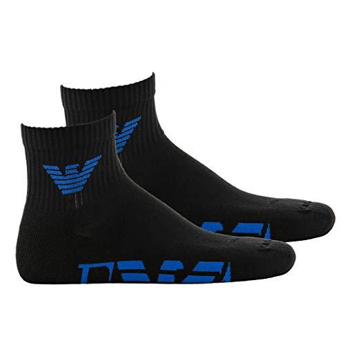 Emporio Armani Herren Sportsocken, 2 Paar - Low Cut Socken, großes Logo, One Size (schwarz/blau) - Low Cut-2 Pack-socken